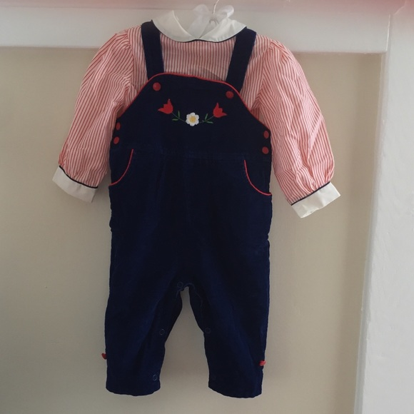 Vintage Other - Vintage Navy Corduroy Overalls with Shirt 12M